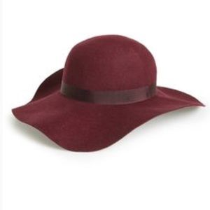 Topshop wine burgundy wool felt floppy hat
